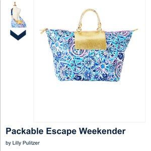 NWT LILLY PULITZER PACKABLE ESCAPE WEEKENDER TOTE